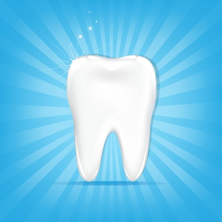 Tooth, On Blue Background With Beams And Stars, Vector Illustration
