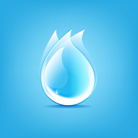 Water Drops Symbol, Isolated On Blue Background, Vector Illustration