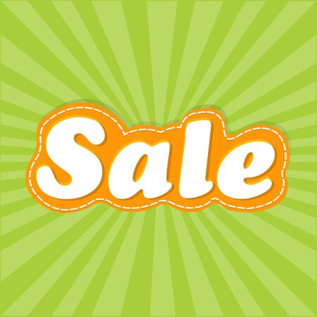 Green Sale Poster With Sunburst  Vector