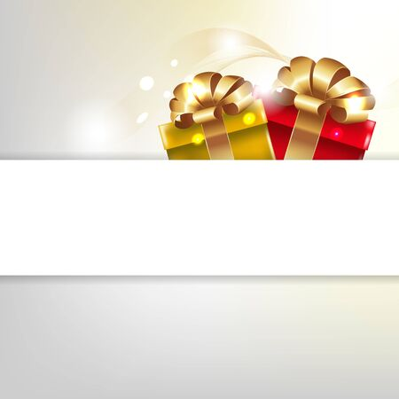 Greeting Card With Gift Box  Vector