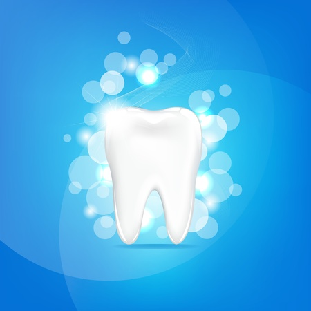new medicine: Tooth With Blue Background And Bokeh
