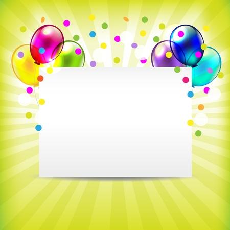 serpentinas: Invitación de cumpleaños, tarjetas de Ilustración Felicitaciones Vectores