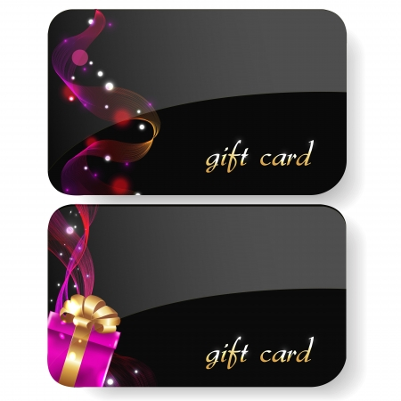 service card: Black Gift Card Set, Isolated On White Background Illustration