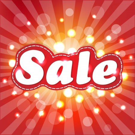 Red Sale Poster With Sunburst Illustration Vector
