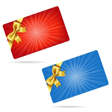 prepaid card: Gift Cards With Gift Golden Bows, Isolated On White Background