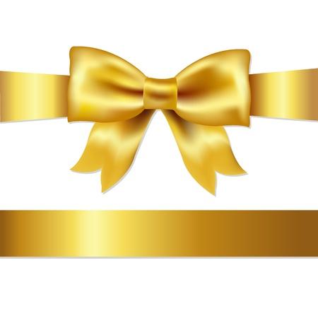 fiocco oro: Golden Bow, isolato su sfondo bianco
