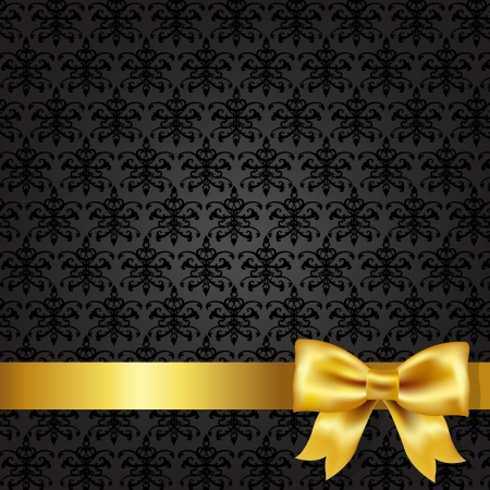 gold leafs: Black Damask Background With Gold Bow, Vector Illustration