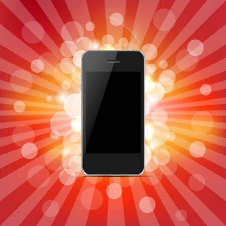 Phone And Red Sunburst, Isolated On Red Background, Vector Illustration