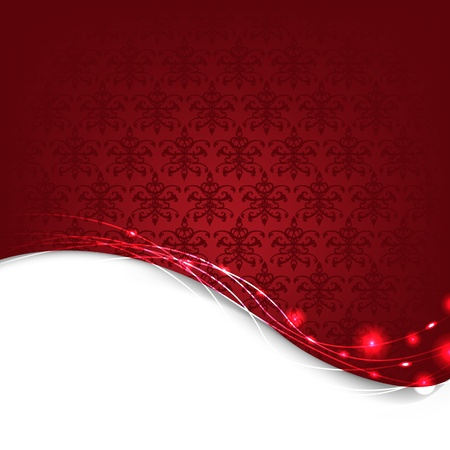 Red Damask Background With Bokeh, Vector Illustration Vector