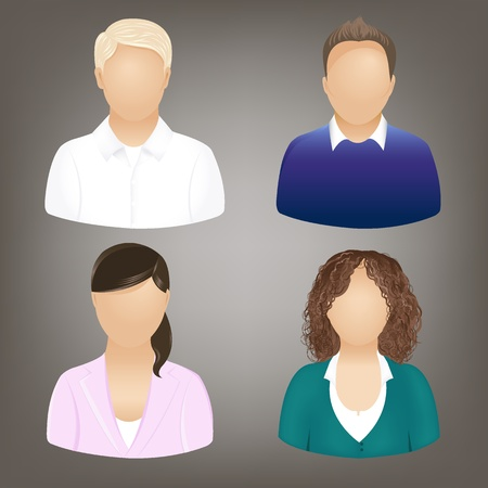 Set Of Business People Icons, Isolated On Grey, Vector Illustration Vector