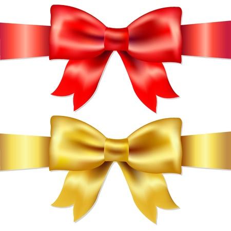 fiocco oro: 2 Nastri, rosso e oro Bow Satin Gift, isolato su sfondo bianco, illustrazione vettoriale