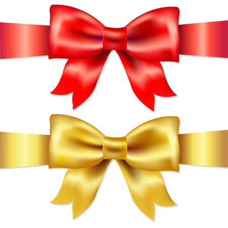 gold cross: 2 Ribbons, Red And Gold Gift Satin Bow, Isolated On White Background, Vector Illustration Illustration