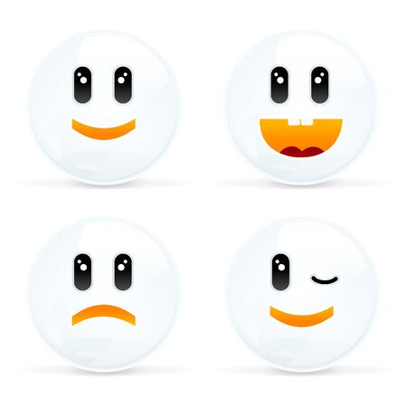winking: 4 Smiles, Set Of Cheerful And Sad Smiles, Isolated On White Background, Vector Illustration Illustration