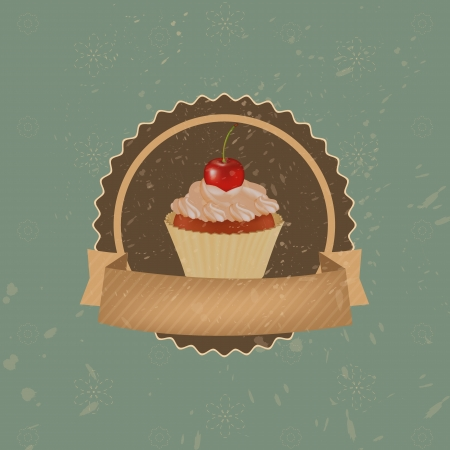 Vintage Cupcake With Cherry And Ribbon, Vector Illustration