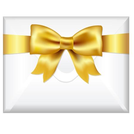 Envelop Gezicht Met gouden boog, Geà ¯ soleerd op witte achtergrond, Vector Illustratie