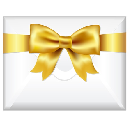 christmas mail: Envelope Face With Golden Bow, Isolated On White Background, Vector Illustration