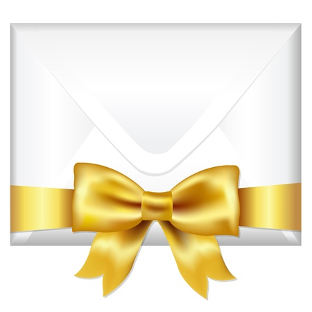 Envelope Face With Golden Bow, Isolated On White Background, Vector Illustration Stock Vector - 14442171