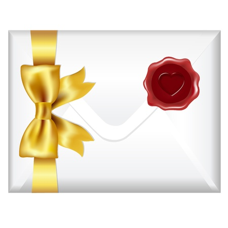 Envelope With Golden Bow And Wax Seal, Isolated On White Background, Vector Illustration Vector