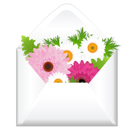 Open Envelope With Flowers, Isolated On White Background, Vector Illustration Vector