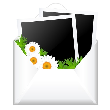 Open Envelope With Photo And Flowers, Isolated On White Background, Vector Illustration Stock Vector - 14442177
