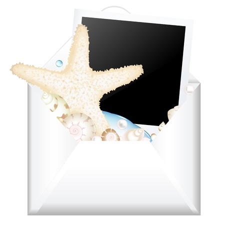 mollusk: Open Envelope With Photo And Starfish, Isolated On White Background, Vector Illustration