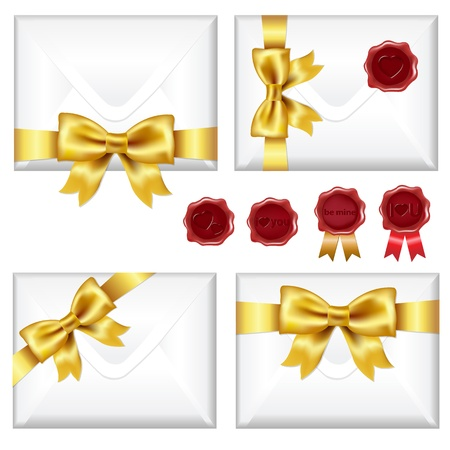 gold mine: Set Of Envelopes With Golden Bow And Wax Seals, Isolated On White Background, Vector Illustration