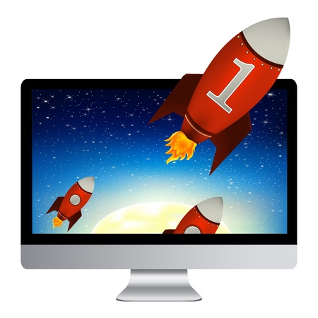 launching: Computer With Red Rockets, Isolated On White Background, Vector Illustration Illustration