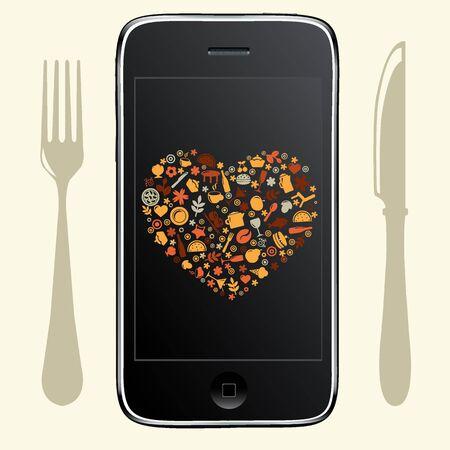 agenda electr�nica: Tel�fono Con Iconos de alimentos, aislados en fondo blanco, ilustraci�n vectorial