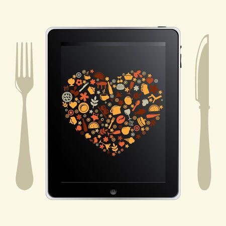 food icon: Tablet Computer With Food Icons, Isolated On White Background, Vector Illustration