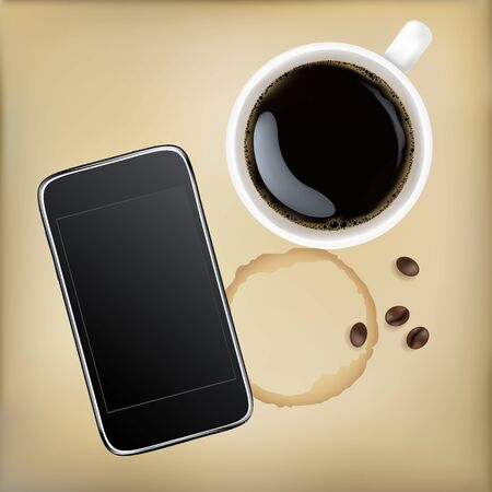 internet cafe: Cup Of Coffee With Mobile Phone, Vector Illustration