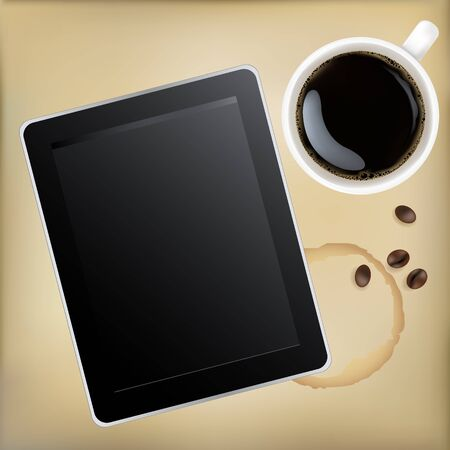 coffee stain: Cup Of Coffee With Tablet Computer, Vector Illustration