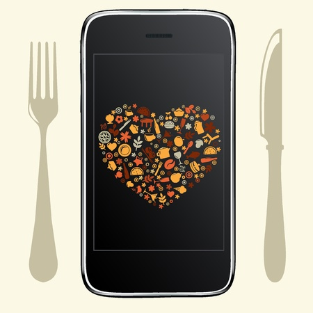 Food Icons With Black Phone, Vector Illustration Vector