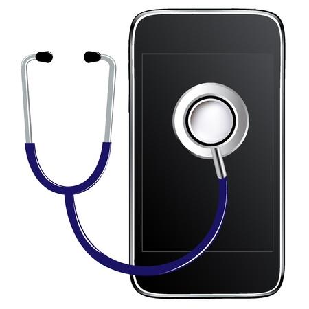 Stéthoscope Bleu Avec Téléphone Mobile, Isolé sur fond blanc, Illustration vectorielle Vecteurs