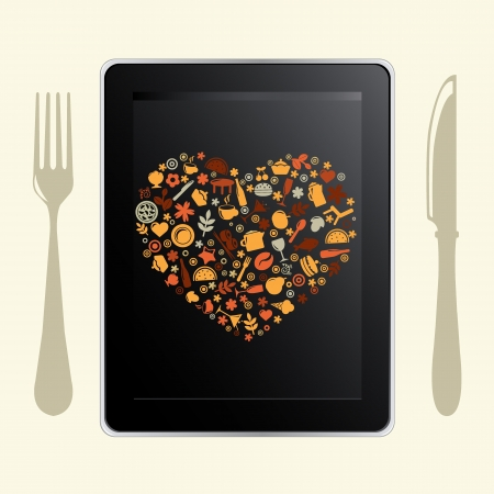 wine book: Tablet Computer And Food Icons, Isolated On White Background, Vector Illustration