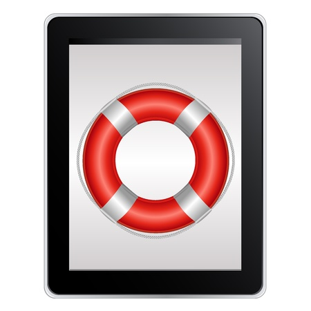 life buoy: Tablet Computer With Life Buoy, Isolated On White Background, Vector Illustration Illustration