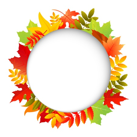 Autumn Leafs With Speech Bubble, Isolated On White Background Illustration  Vector