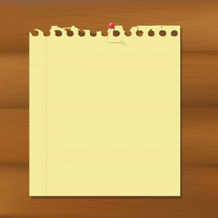 Blank Note Paper On Wooden Brown Background Illustration Stock Vector - 15069799