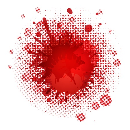 spilled paint: Blood Blobs, Isolated On White Background Illustration