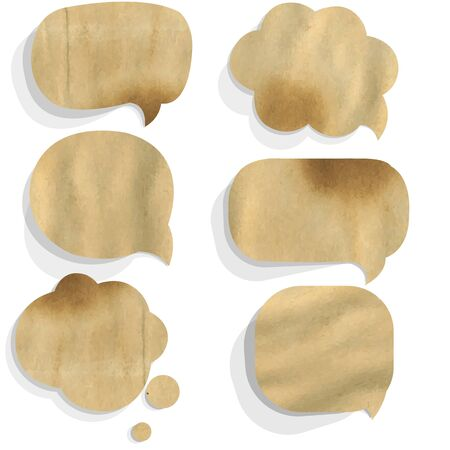 Cardboard Paper Speech Bubble, Isolated On White Background Illustration Vector
