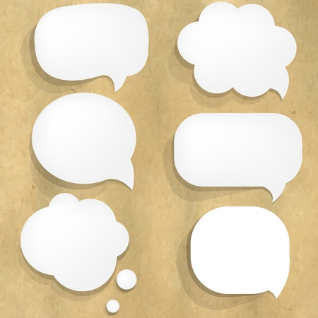 Cardboard Structure With Paper Speech Bubble Illustration Vector