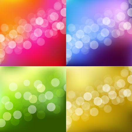 4 Color Lights Background With Bokeh Illustration  Stock Vector - 15069770