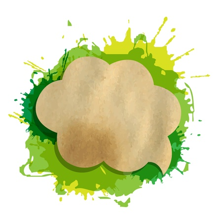 Green Grunge Blob With Speech Bubble, Isolated On White Background Illustration