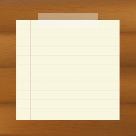 Paper On Wooden Brown Background Illustration Vector