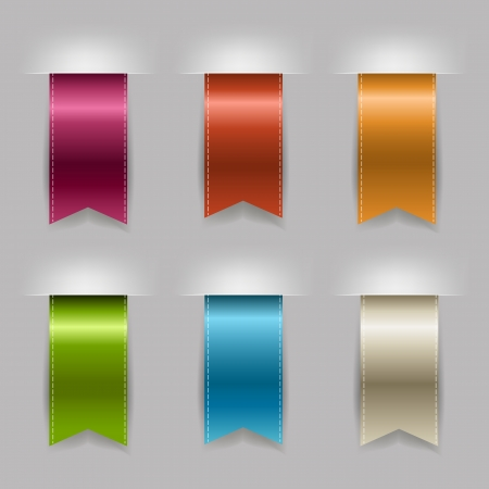 vertical banner: Realistic Ribbon Set, Isolated On Grey Background Illustration