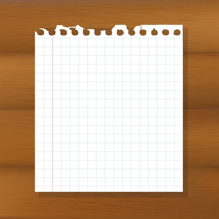 Sheet Of Paper On Wooden Background Illustration Vector