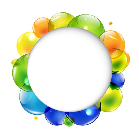 Speech Bubble With Color Balls, Isolated On White Background Illustration Vector