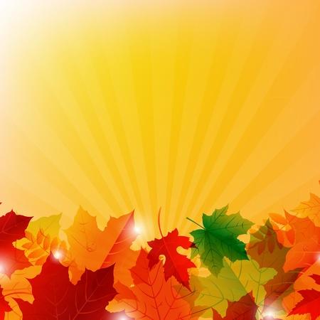 changing colors: Autumn Colorful Border With Sunburst Illustration