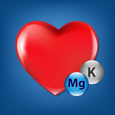 fondness: Red Heart And Vitamins, Isolated On Blue Background, Vector Illustration