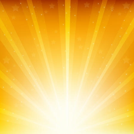 sunbeam: Colden Background With Sunburst And Stars Illustration