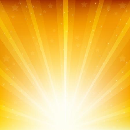 Sfondo Colden Con Sunburst E Le Stelle Vettoriali